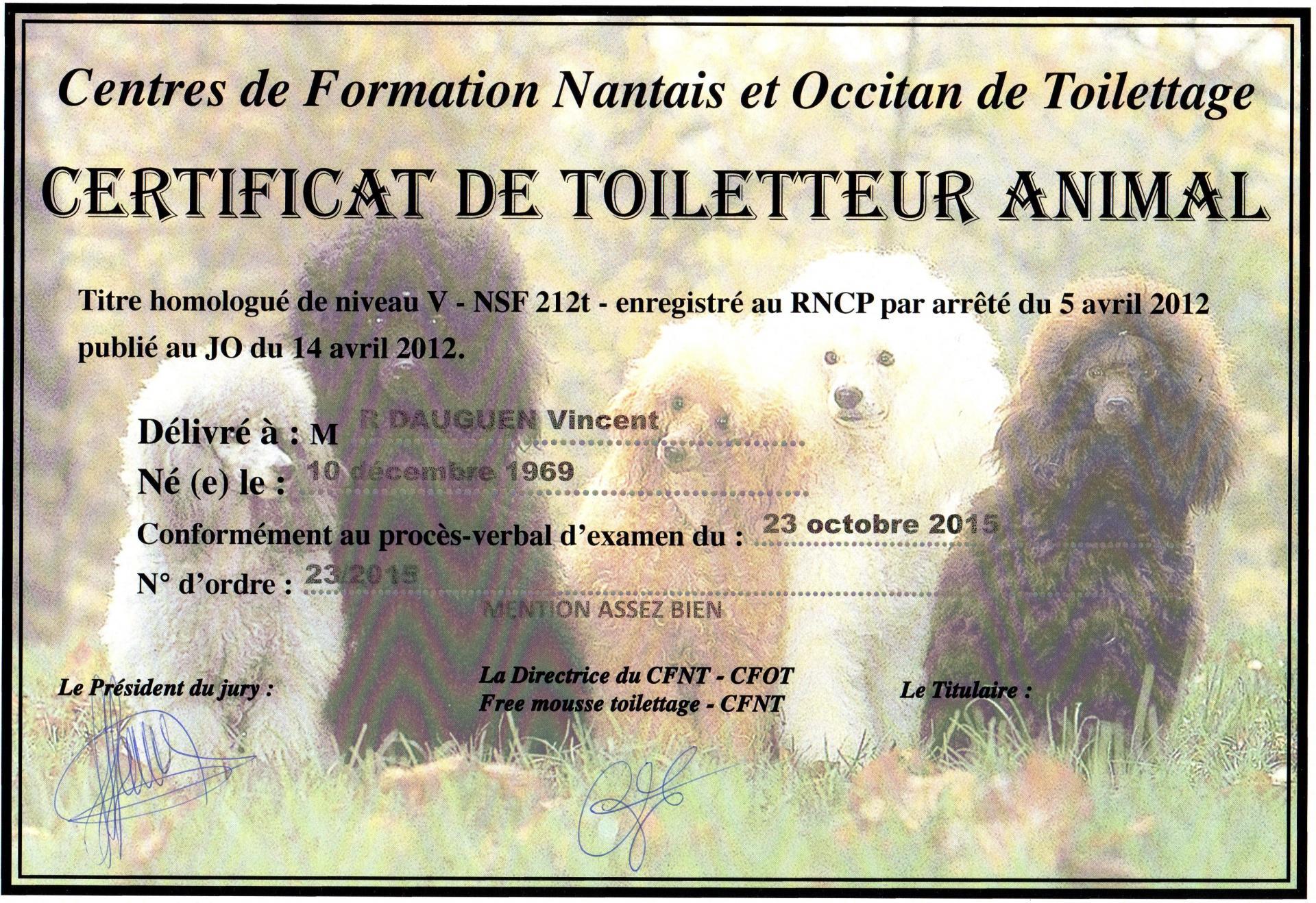 Certificat CFOT